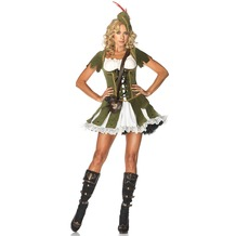 Leg Avenue 3Pc. Thief Of Hearts Costume Set With Peasant Dress, Hat Feather Accent And Satchel olive/cream 38-40