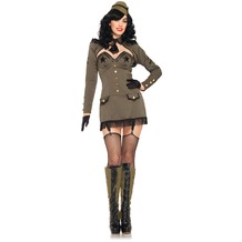 Leg Avenue 5Pc. Pin Up Army Girl Costume Set With Dress, Back Bow, Shrug, Clear Straps, Tie And Hat khaki 40