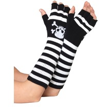 Leg Avenue Acrylic Elbow Length Fingerless Gloves BLACK/WHITE one size