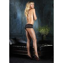 Leg Avenue Diamant Fence Netz-Strumpfhose mit sexy Schnüren Boy Shorts Top  schwarz one size