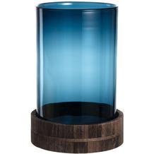 Leonardo Windlicht TERRA 2-teilig 34 cm blau mit Holzsockel