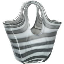Leonardo Glasgefäß/Glastasche Bella Streifen 23 cm grau