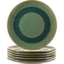 Leonardo Matera Keramikteller 6er-Set 22,5 cm grün