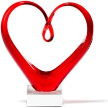 Leonardo Skulptur Heart Glas-Herz rot
