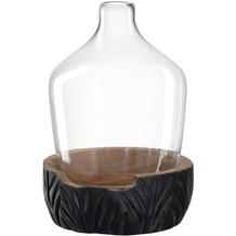 Leonardo Vase mit Holzsockel CASOLARE 33 cm schwarz