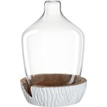 Leonardo Vase mit Holzsockel CASOLARE 43 cm weiß
