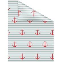 Lichtblick Fensterfolie selbstklebend, Sichtschutz, Anker gestreift - Türkis Rot Breite: 100 cm, Länge: 100 cm