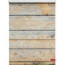 Lichtblick Rollo Klemmfix, ohne Bohren, blickdicht, Bretter Shabby - Braun Breite: 100 cm