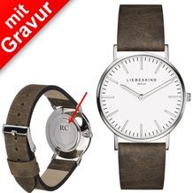 Liebeskind Damenuhr MIT GRAVUR (z.B. Namen) LT-0086-LQ calf mit Lederarmband Damen Uhr Leder Armbanduhr