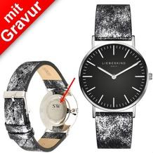 Liebeskind Damenuhr MIT GRAVUR (z.B. Namen) LT-0100-LQ Rindsleder mit Lederarmband Damen Uhr Leder Armbanduhr
