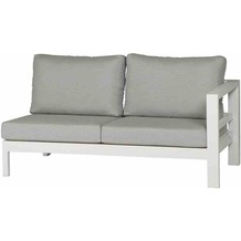 LIFE Delta 2-Sitz rechts weiß/hellgrau Aluminium weiß / Sunbrella hellgrau