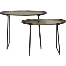 Light & Living Beistelltisch S/2 max 65x46x48cm ROJA roh a,bronze-m,schwarz