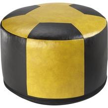 linke licardo Fussball-Sitzkissen, Kunstleder gelb/schwarz Ø 50/34 cm