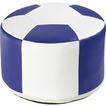 linke licardo Fussball-Sitzkissen, Kunstleder weiss/blau Ø 50/34 cm