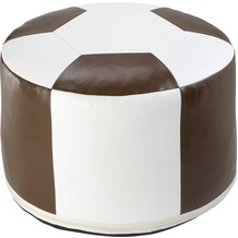 linke licardo Fussball-Sitzkissen, Kunstleder weiss/braun Ø 50/34 cm