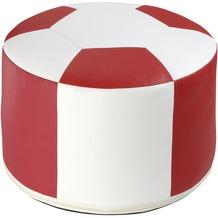 linke licardo Fussball-Sitzkissen, Kunstleder weiss/rot Ø 50/34 cm