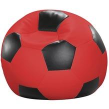 linke licardo Fußball-Sitzsack Kunstleder rot/schwarz Ø 80 cm