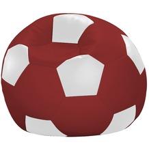 linke licardo Fußball-Sitzsack Kunstleder weiß/rot Ø 80 cm