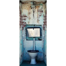 Livingwalls 0200-24 Türtapete WC Grau Weiss