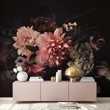 Livingwalls Fototapete Designwalls Blossom Variety blau creme grün rosa schwarz violett DD118514 3,50 m x 2,55 m