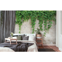 Livingwalls Fototapete Designwalls Climbing Leaves beige grau grün DD118712 3,50 m x 2,55 m
