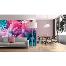 Livingwalls Fototapete Designwalls Colored Smoke blau creme rosa rot schwarz türkis violett DD118772 3,50 m x 2,55 m