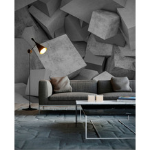 Livingwalls Fototapete Designwalls Concrete Blocks grau weiß DD118734 3,50 m x 2,55 m