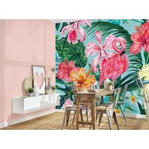 Livingwalls Fototapete Designwalls Flamingo Tapete Flamingo Art rosa grün türkis Vliestapete glatt 3,50 m x 2,55 m