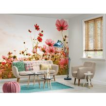 Livingwalls Fototapete Designwalls Flower Meadow braun creme gelb grün rosa rot schwarz weiß DD118598 3,50 m x 2,55 m