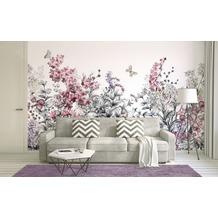 Livingwalls Fototapete Designwalls Blumentapete Flower Painting grau rosa weiß Vliestapete glatt 3,50 m x 2,55 m