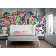 Livingwalls Fototapete Designwalls Tapete Graffiti grau bunt Vliestapete glatt 3,50 m x 2,55 m