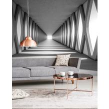 Livingwalls Fototapete Designwalls 3D Tapete Grey Aisle grau schwarz weiß Vliestapete glatt 3,50 m x 2,55 m