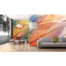 Livingwalls Fototapete Designwalls Tapete mit Blättern Limpid Leaf orange gelb blau Vliestapete glatt 3,50 m x 2,55 m