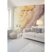 Livingwalls Fototapete Designwalls Marmortapete Marble Waves beige gelb braun Vliestapete glatt 3,50 m x 2,55 m