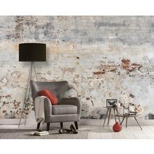 Livingwalls Fototapete Designwalls Betontapete Old Wall grau beige kupfer Vliestapete glatt 3,50 m x 2,55 m