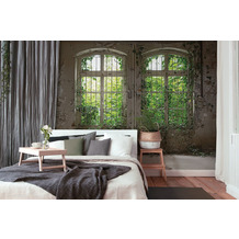 Livingwalls Fototapete Designwalls 3D Tapete Old Window beige braun grün Vliestapete glatt 3,50 m x 2,55 m