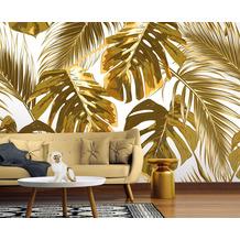 Livingwalls Fototapete Designwalls Palm Leaves beige braun creme grün weiß DD118574 3,50 m x 2,55 m