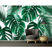 Livingwalls Fototapete Designwalls Palm Leaves grün türkis weiß DD118572 3,50 m x 2,55 m