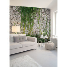 Livingwalls Fototapete Designwalls Stone wall grau grün DD118793 3,50 m x 2,55 m