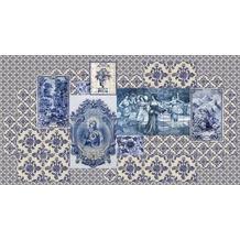 Livingwalls Fototapete Walls by Patel Fliesentapete Azulejos beige blau Vliestapete glatt 5,00 m x 2,70 m