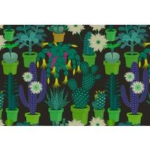 Livingwalls Fototapete Walls by Patel abstrakte Tapete Cactus Garden grün schwarz Vliestapete glatt 4,00 m x 2,70 m