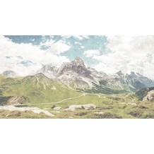 Livingwalls Fototapete Walls by Patel Tapete Landschaft Berge Dolomiti blau grün weiß Vliestapete glatt 5,00 m x 2,70 m