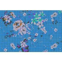 Livingwalls Fototapete Walls by Patel Blumentapete Flower Plaid blau grün orange violett Vliestapete glatt 4,00 m x 2,70 m