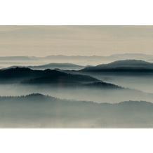 Livingwalls Fototapete Walls by Patel Tapete Landschaft Berge Wald Horizon beige blau Vliestapete glatt 4,00 m x 2,70 m
