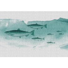 Livingwalls Fototapete Walls by Patel Tapete mit Fischen Into The Blue grau grün Vliestapete glatt 4,00 m x 2,70 m