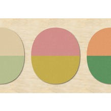 Livingwalls Fototapete Walls by Patel geometrische Tapete Split Ovals beige grün rosa Vliestapete glatt 4,00 m x 2,70 m