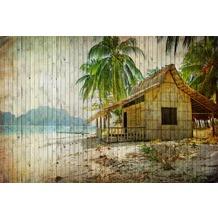 Livingwalls Fototapete Walls by Patel Tapete Strand & Meer Tahiti beige blau braun grün weiß Vliestapete glatt 4,00 m x 2,70 m