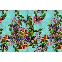 Livingwalls Fototapete Walls by Patel Blumentapete Tropical Passion grün türkis Vliestapete glatt 4,00 m x 2,70 m
