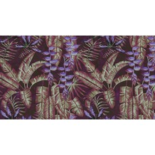 Livingwalls Fototapete Walls by Patel Dschungeltapete Tropicana rot violett Vliestapete glatt 5,00 m x 2,70 m