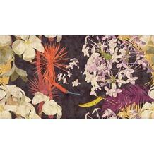Livingwalls Fototapete Walls by Patel abstrakte Blumentapete Vintage Bouquet beige orange rot schwarz Vliestapete glatt 5,00 m x 2,70 m